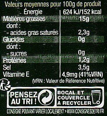 Olives vertes dénoyautées 160g - Informations nutritionnelles - fr