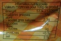 Olives noires confites en rondelles - Informação nutricional - fr
