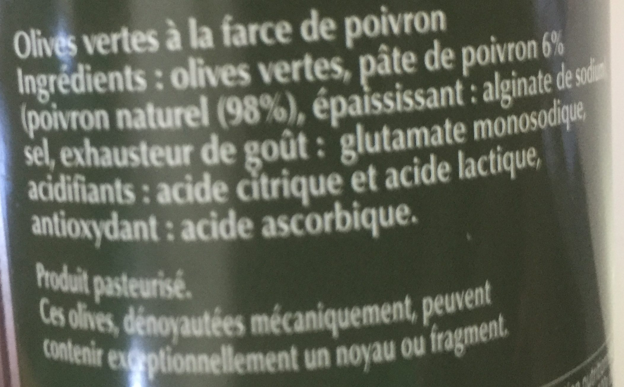 Olives Farcies aux Poivrons - Ingrediënten - fr