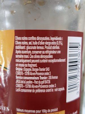 Olives noires confites dénoyautées - Ingrédients