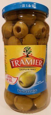 Olives vertes dénoyautées -25% de sel - Produit - fr