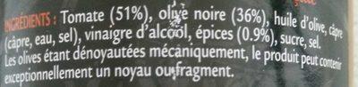 Sauce aux Olives Provençale - Ingrédients