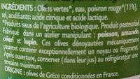 Olives vertes farcies au poivron rouge - Ingrédients - fr