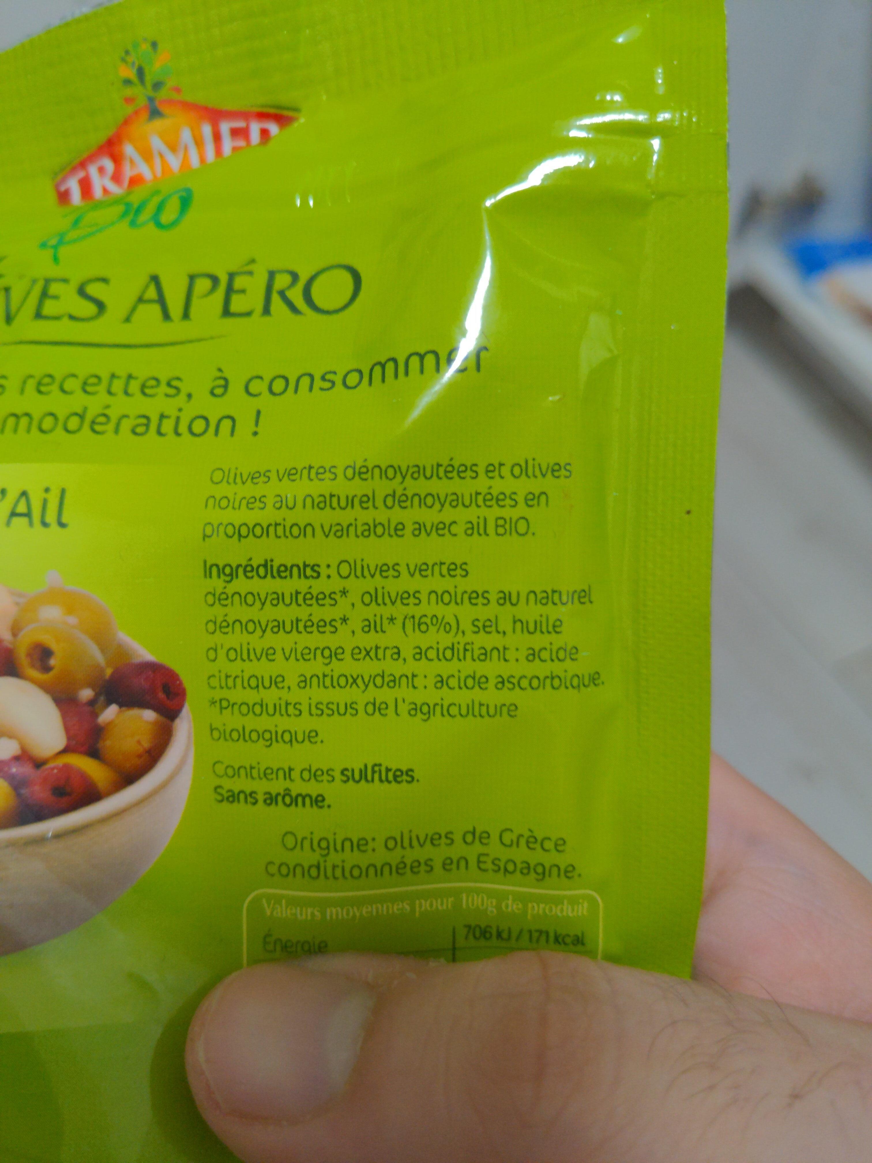 Olives apéro Mix à l'ail Bio 150g Tramier - Inhaltsstoffe - fr