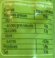 Olives apéro Mix à l'ail Bio 150g Tramier - Nährwertangaben - fr