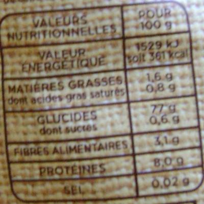 Selection trois riz - Nutrition facts