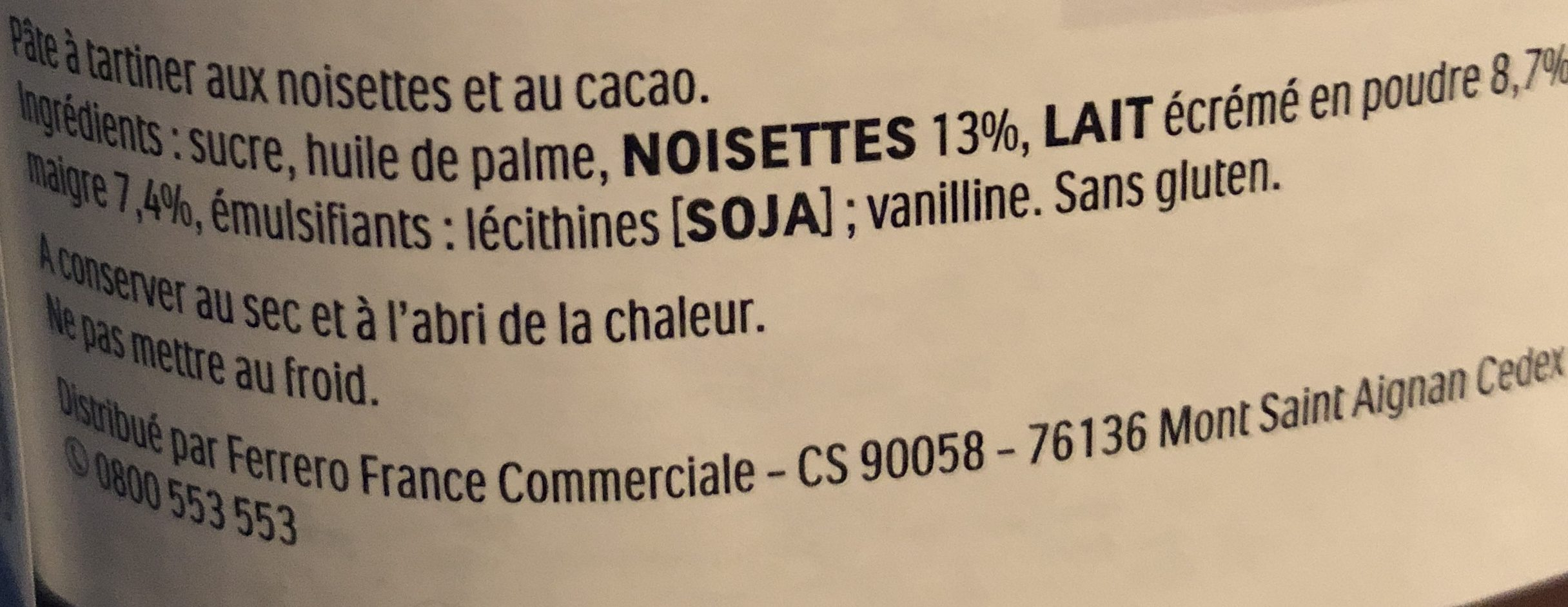 Nutella pate a tartiner noisettes-cacao t.600 pot de - Ingredients - fr