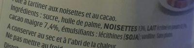 Nutella - Inhaltsstoffe