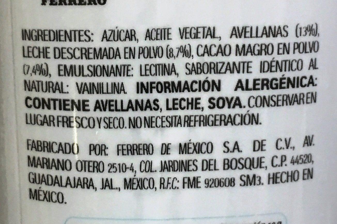 Nutella - Ingredientes - es