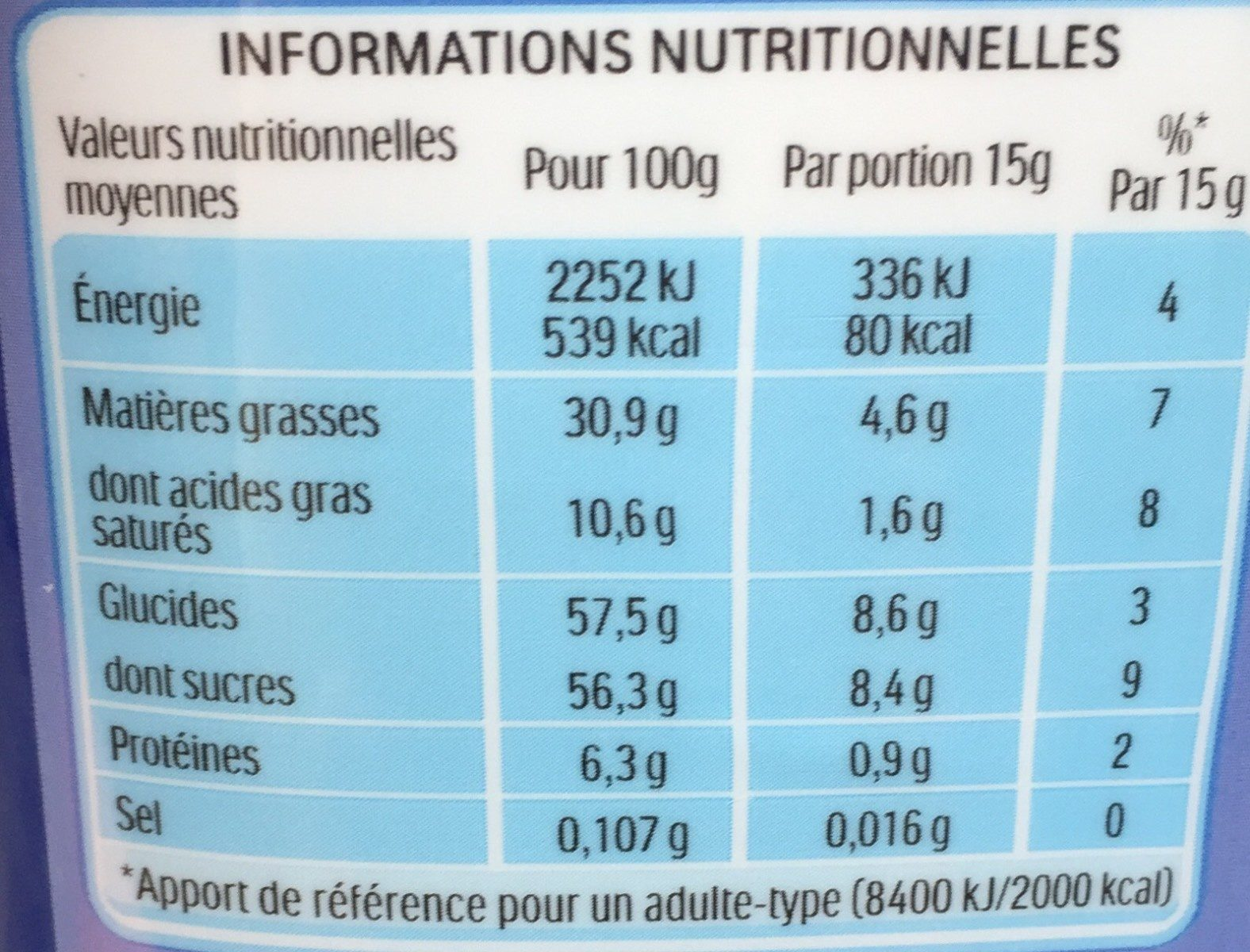 Nutella - Nährwertangaben - fr