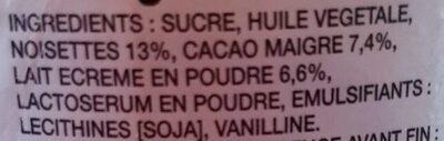 Pate A Tartiner Nutella Pot 750G - Ingrediënten
