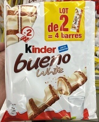 Kinder bueno white gaufrettes enrobees de chocolat blanc 2 x 2 barres - Prodotto - fr