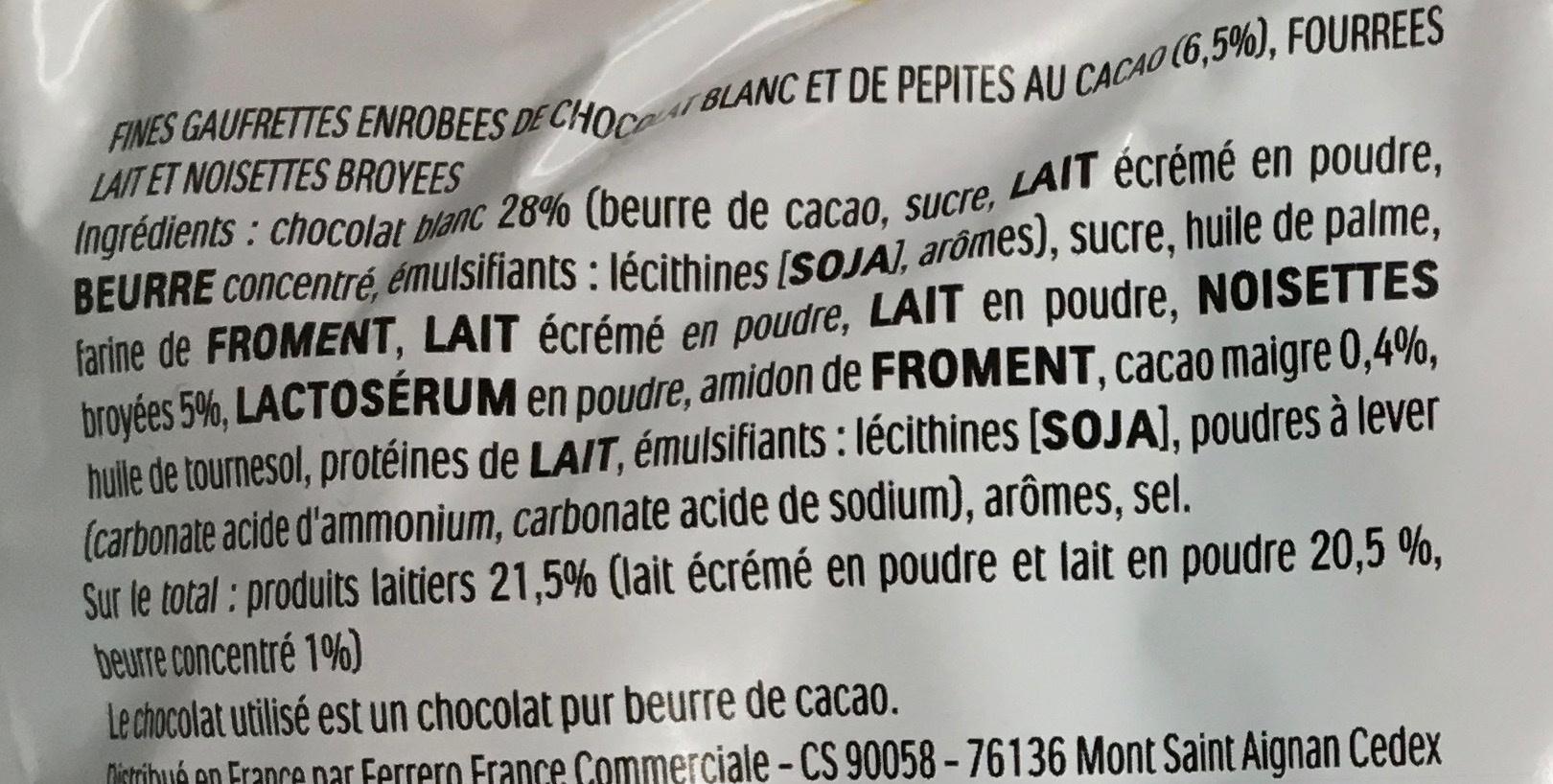 Kinder bueno white gaufrettes enrobees de chocolat blanc 2 x 2 barres - Ingredienti - fr