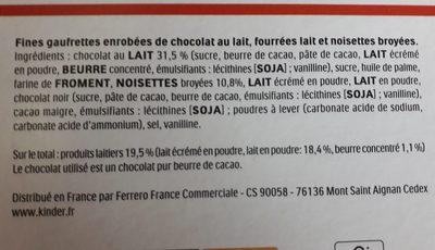 Kinder bueno - Ingredienti - fr