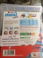 BOX KINDER MAXI MINI 340 pcs - Informations nutritionnelles