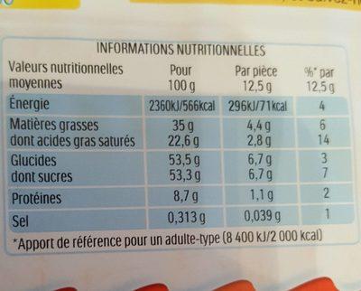 Kinder - Valori nutrizionali - fr