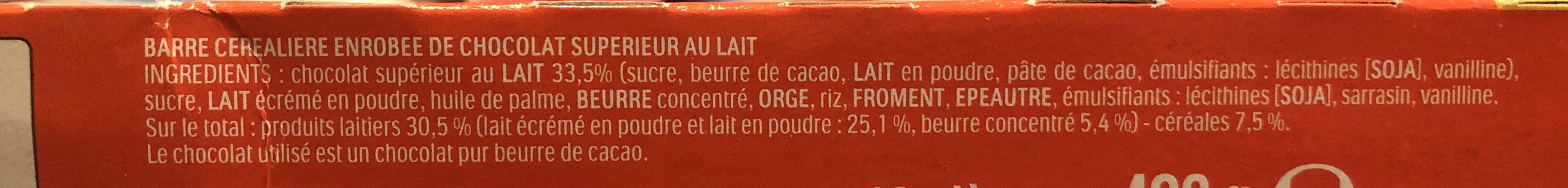 KINDER COUNTRY BARRE DE CEREALES ENROBEE DE CHOCOLAT 2x9 BARRES - Ingrédients - fr