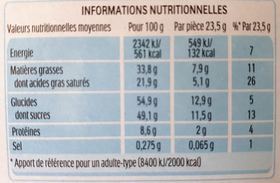 KINDER COUNTRY BARRE DE CEREALES ENROBEE DE CHOCOLAT 2x9 BARRES - Informations nutritionnelles - fr