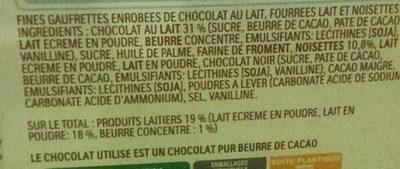 Kinder bueno mini fines gaufrettes enrobees de chocolat au lait fourrees lait et noisettes box plastique de 180 pieces - Ingrediënten - fr