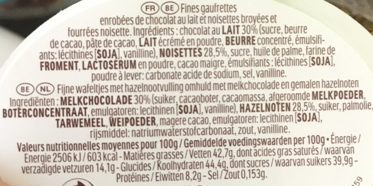 Cloche Ferrero - Ingrédients