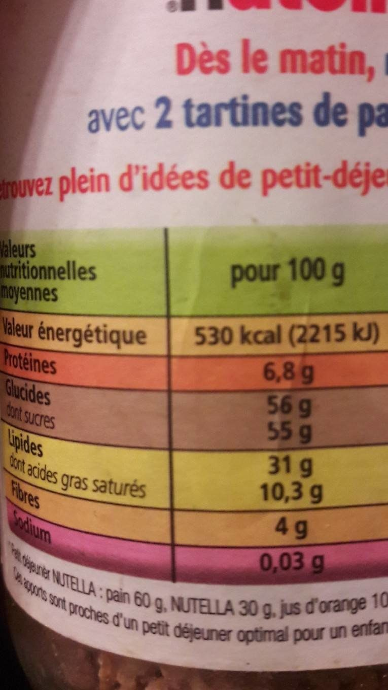 Nutella - Informations nutritionnelles - fr
