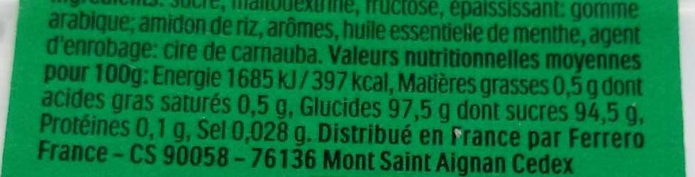 Tic Tac Mint - Nutrition facts