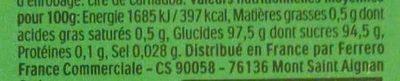 Bonbons tic tac goût menthe - Valori nutrizionali - fr