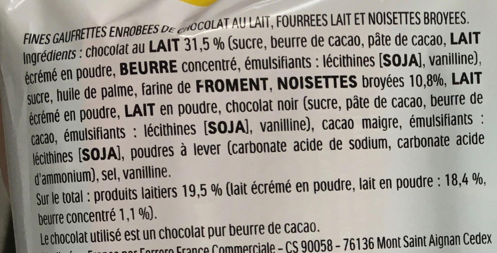 Kinder bueno gaufrettes enrobees de chocolat 2 x2 barres - Ingrediënten - fr