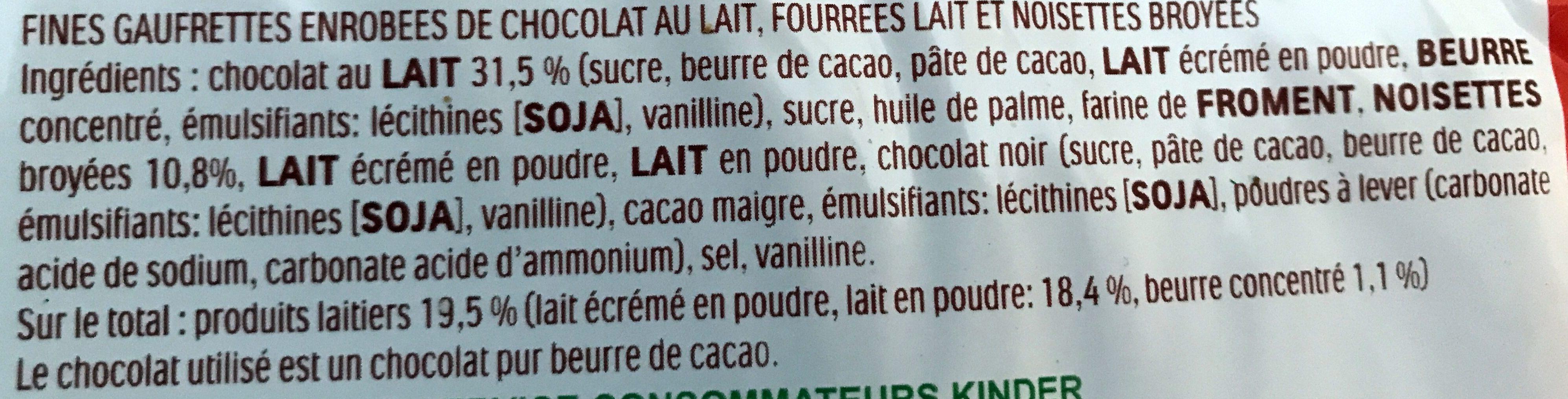 Kinder Bueno - Ingrediënten - fr