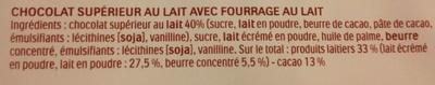 16 batonnets Chocolat - Ingrédients