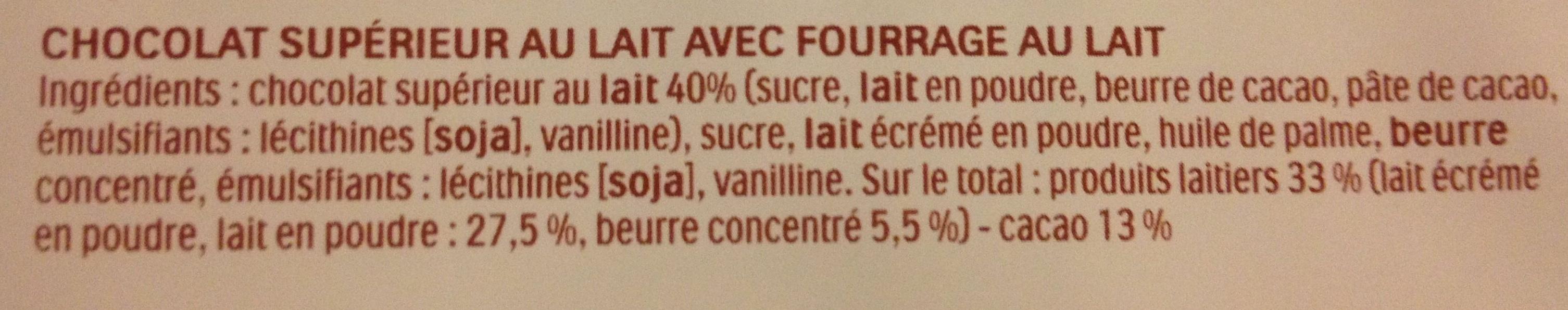 16 batonnets Chocolat - Ingrédients - fr