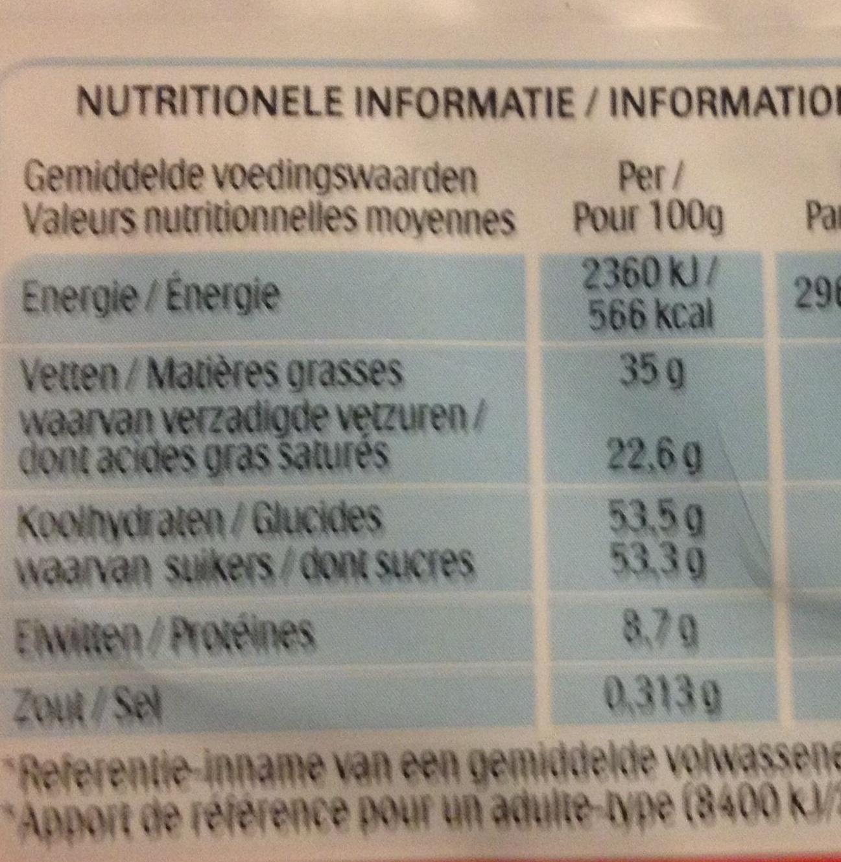 16 batonnets Chocolat - Voedingswaarden
