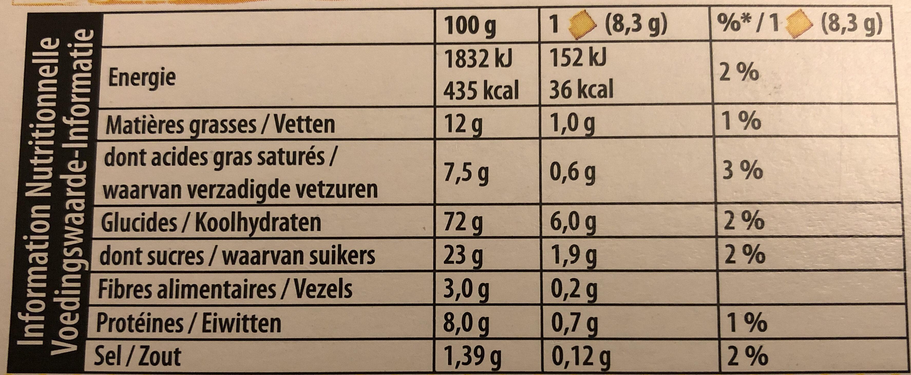 Veritable petit beurre - Informations nutritionnelles - fr