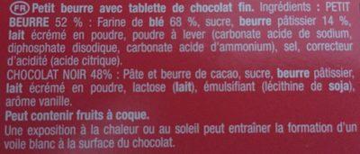 Petit écolier Chocolat fin - Ingrédients - fr