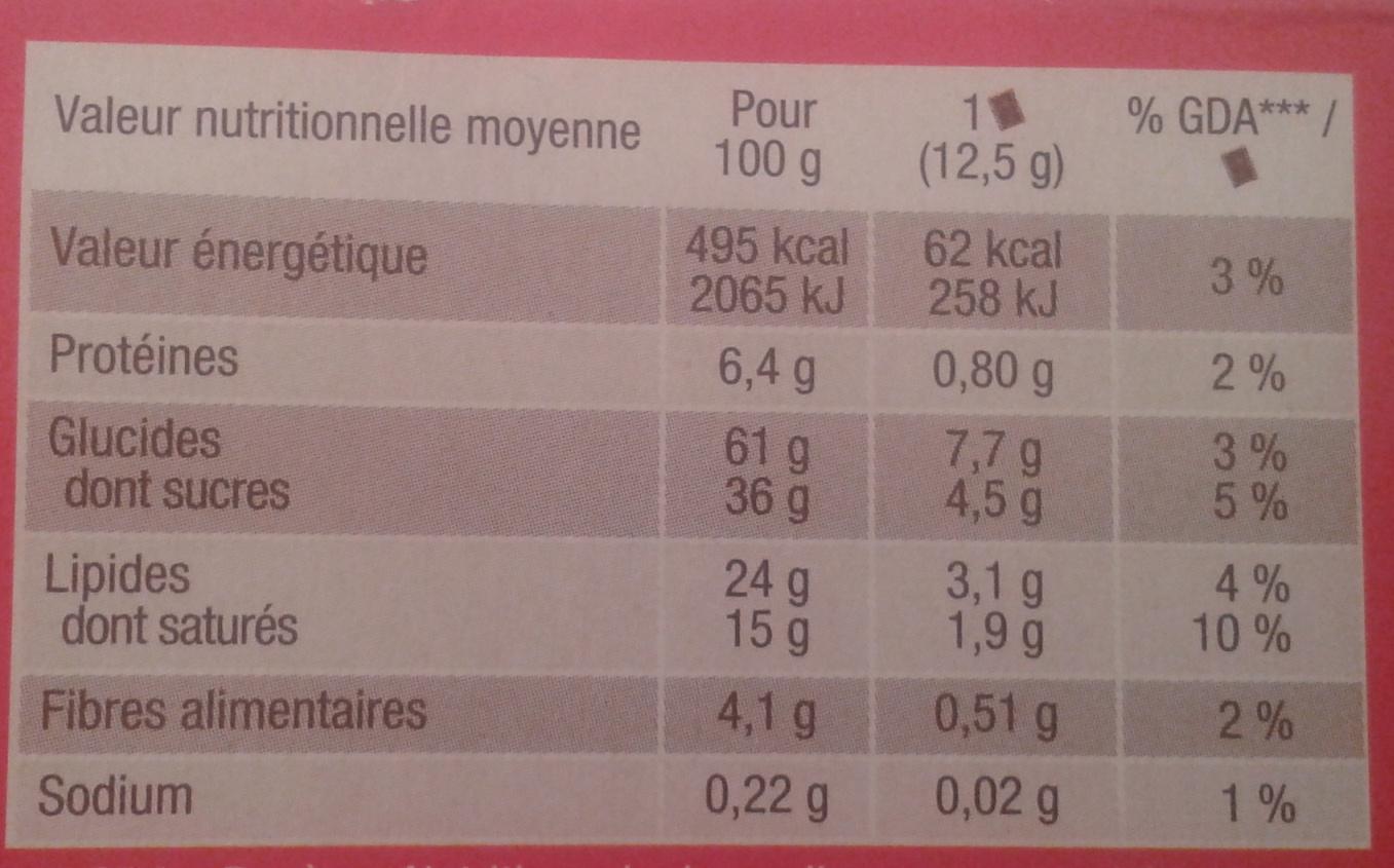 Véritable Petit Ecolier Pocket - Informations nutritionnelles