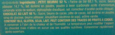 Lu - Véritable Petit Écolier - Pocket - Chocolat au lait - Ingrédients - fr