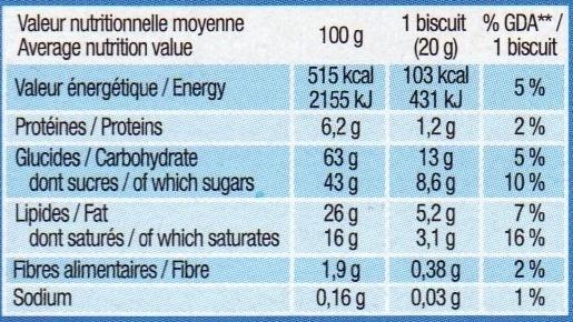Véritable petit écolier tendre coeur, 6 biscuits - Informations nutritionnelles