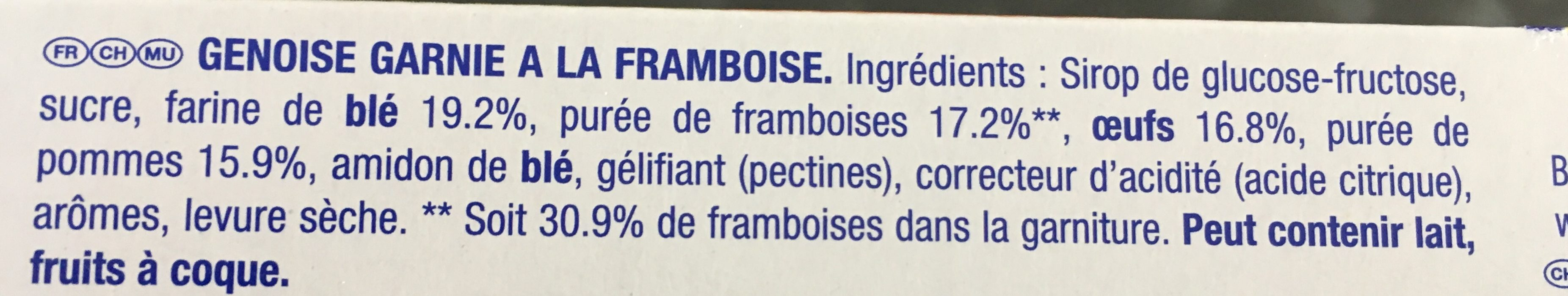 Lulu Barquettes framboise - Ingrédients - fr