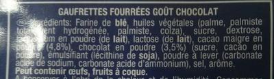 14 Gaufrettes saveur Cacao - Ingrédients - fr