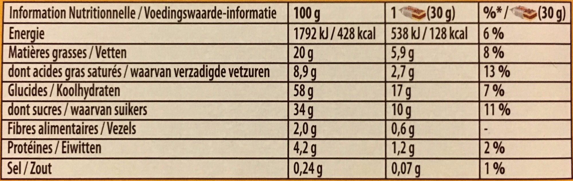 Napolitain l'Original - Nutrition facts - fr