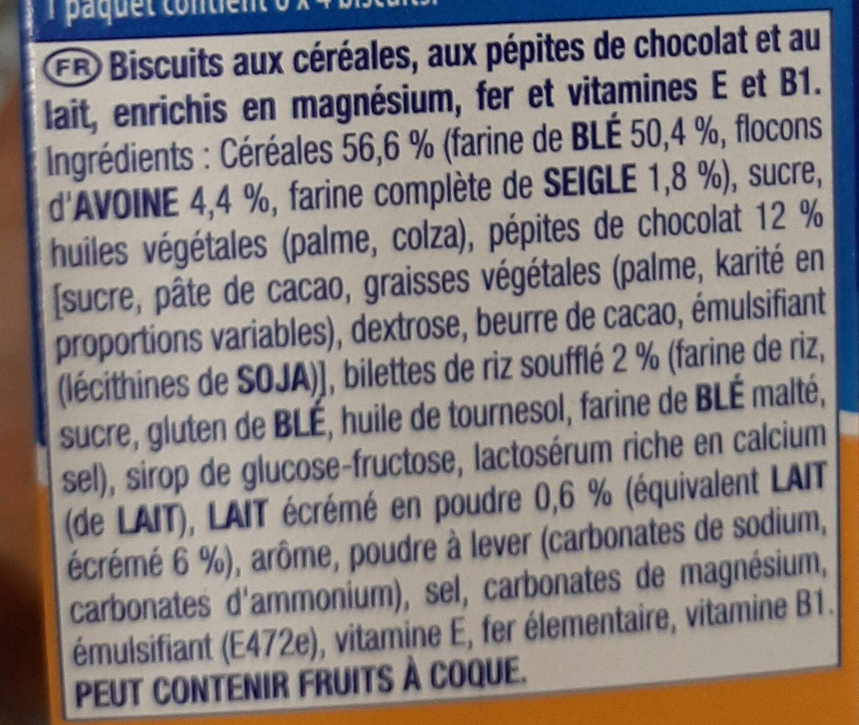 Prince petit dej - Ingredienti - fr