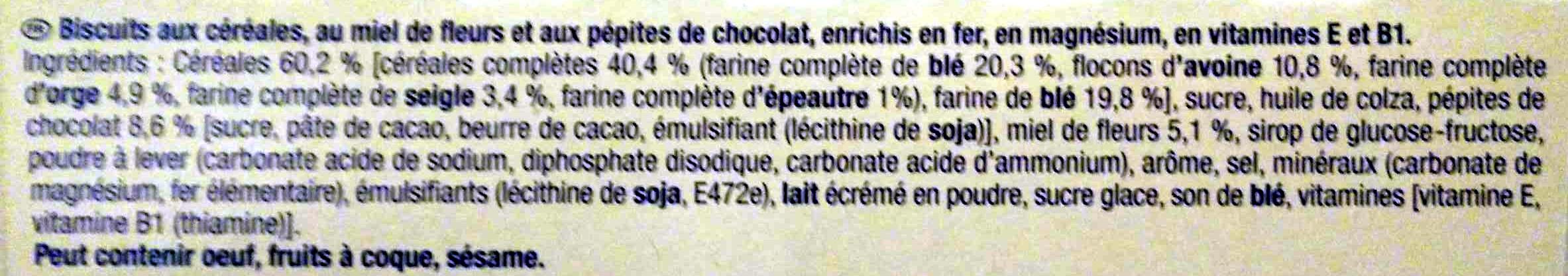 BelVita - Petit Déjeuner - Miel et Pépites de Chocolat - Ingrédients - fr