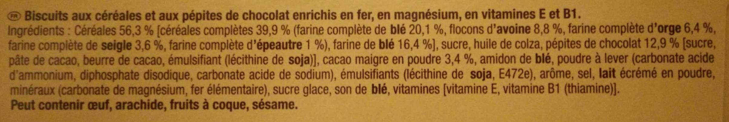 Belvita - Petit Déjeuner - Chocolat & 5 Céréales Complètes - Ingrediënten