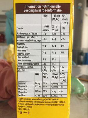 Belvita - Petit Déjeuner - Chocolat & 5 Céréales Complètes - Informations nutritionnelles