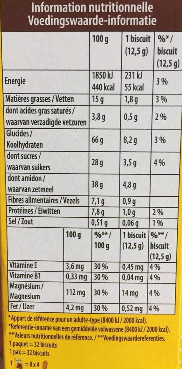 Belvita - Petit Déjeuner - Chocolat & 5 Céréales Complètes - Voedingswaarden