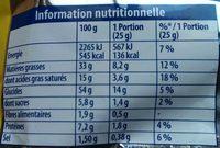 Croustilles goût emmental - Nutrition facts - fr