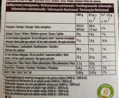 Mikado chocolat au lait - Información nutricional - es