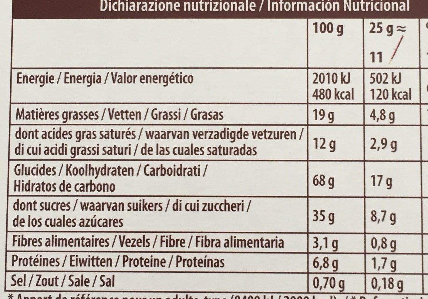 Mikado chocolat au lait - Voedingswaarden - fr