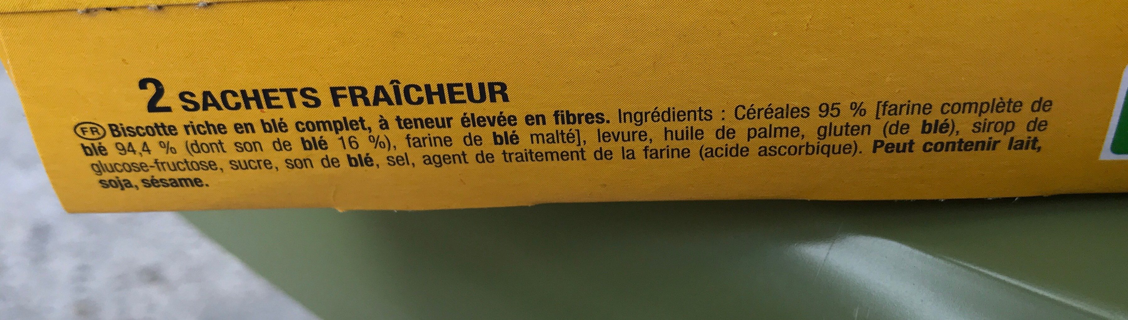 Biscotte Fibres+ - Ingrediënten - fr