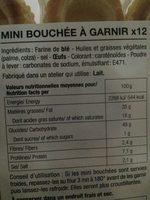 Mini-bouchées Feuilletées à Garnir (x12) - Ingrediënten